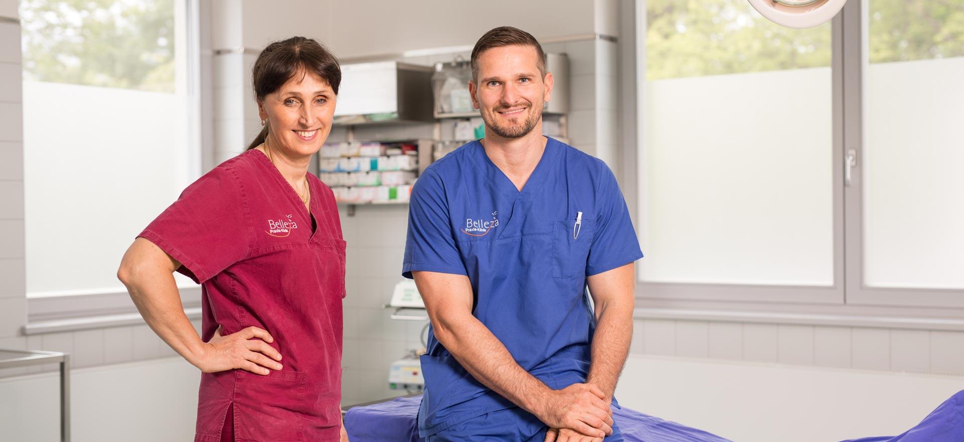 Dr. Dr. Irina Brzenska M.Sc. und Tobias Dieke lächeln in die Kamera.
